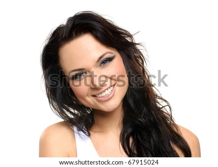 Portrait of young and healthy girl isolated on white - stock photo