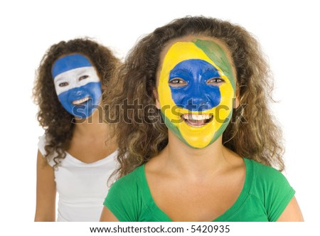 Portrait of young, Argentinian and  Brazilian sport's fans with painted flags on faces. Smiling and looking at camera.  Front view, white background - stock photo