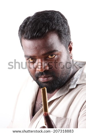 Portrait of young Asian  gangster with cigar . - stock photo