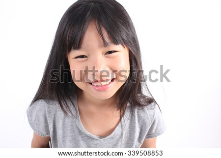 Portrait of young asian girl on white background. - stock photo