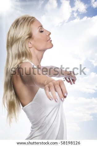 Portrait of young attractive woman having good time - stock photo