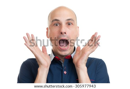 Portrait of young bald man with shocked facial expression, isolated over white background - stock photo