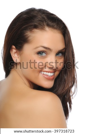 Portrait of young beautiful burnett isolated on a white background - stock photo
