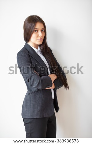 Portrait of young beautiful business woman - stock photo