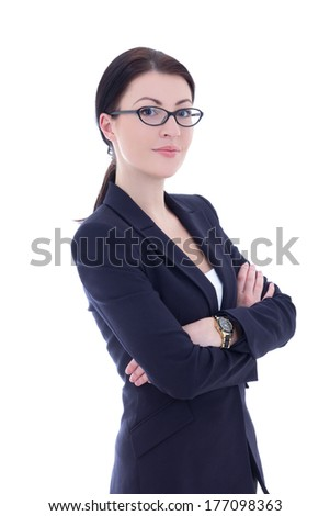 portrait of young beautiful business woman in glasses isolated on white background - stock photo