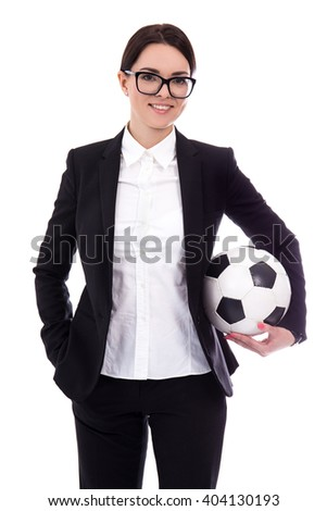 portrait of young beautiful business woman with football ball isolated on white background - stock photo