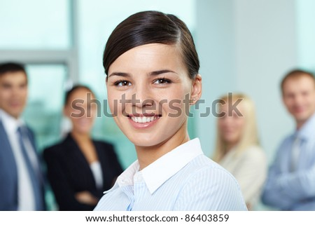 Portrait of young beautiful businesswoman - stock photo