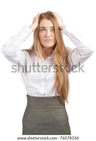 Portrait of young beautiful businesswoman having a headache, against white background - stock photo