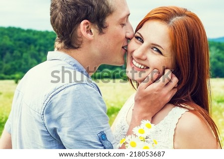 Portrait of young beautiful couple   - stock photo
