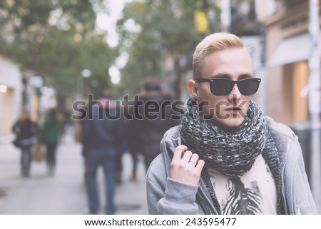 Portrait of young beautiful fashionable man.  - stock photo