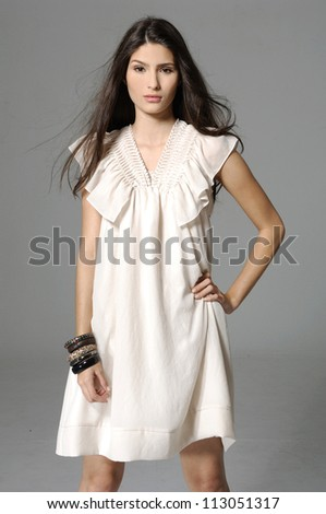 portrait of young beautiful fashionable woman with modern coiffure - series of photos - stock photo