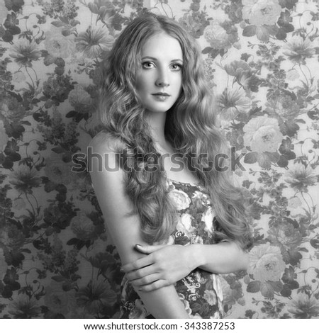 Portrait of young beautiful girl. Fashion photo Hairstyle. Make up. Vogue Style. Black and white photo - stock photo