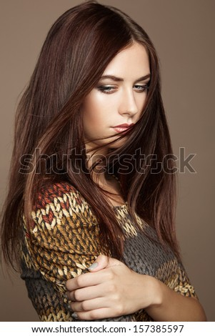 Portrait of young beautiful girl with brown hair. Fashion photo.  Make up. Vogue Style. - stock photo