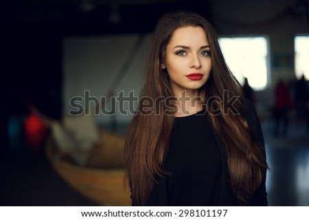 Portrait of young beautiful pretty woman wearing stylish pullover. Upper body shot - stock photo
