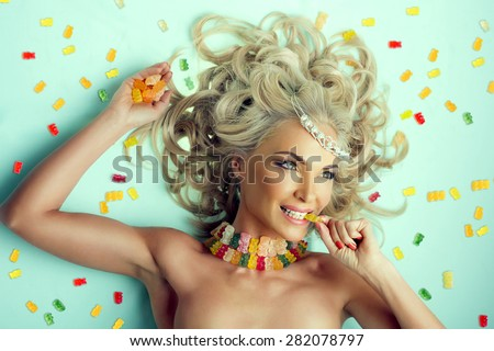 Portrait of young beautiful  Princess of sweets - stock photo