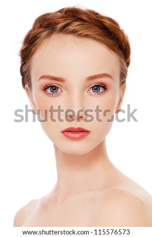 Portrait of young beautiful redhead freckled girl with fresh make-up, on white background - stock photo