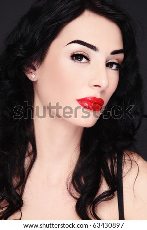 Portrait of young beautiful sexy brunette with red lips - stock photo