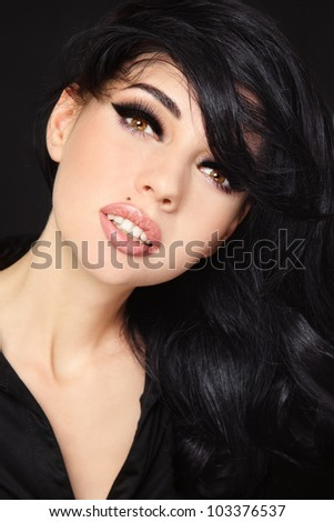 Portrait of young beautiful sexy woman with stylish make-up - stock photo