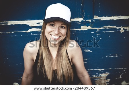 Portrait of young beautiful skater girl posing  - stock photo