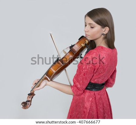 Portrait of young beautiful  teenage girl with viola  - stock photo