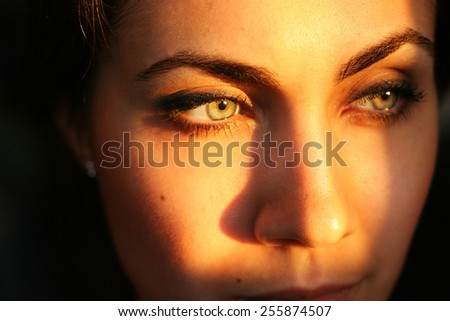 Portrait of young beautiful woman close up - stock photo