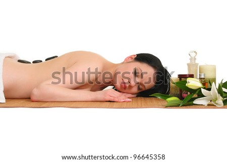 portrait of young beautiful woman in spa - stock photo