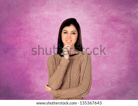Portrait Of Young Beautiful Woman Isolated Over Pink Background - stock photo