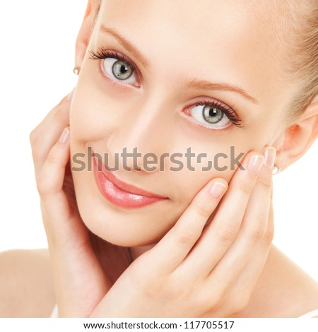 Portrait of young beautiful woman on the white background - stock photo