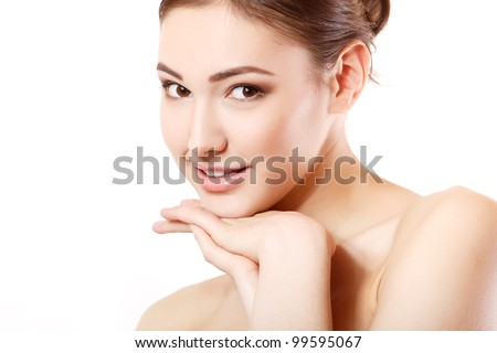 portrait of young beautiful woman smiling and hoolding hand near her face. isolated on white background. - stock photo