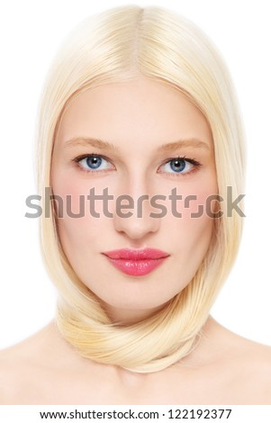 Portrait of young beautiful woman with bleached hair on white background - stock photo