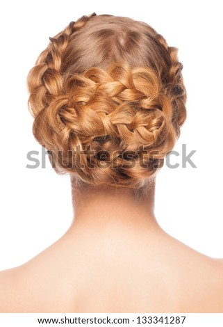 Portrait of young beautiful woman with blond hair and braid hairdo. Rear view, isolated on white background - stock photo