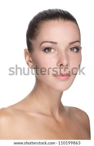 portrait of young beautiful woman with clean skin - stock photo