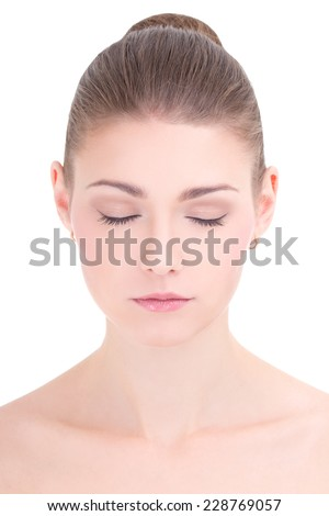 portrait of young beautiful woman with closed eyes isolated on white background - stock photo