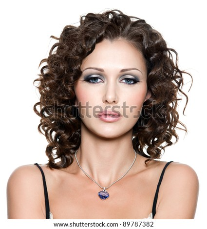 portrait of young beautiful woman with fashion makeup and curly hair. Isolated on white - stock photo