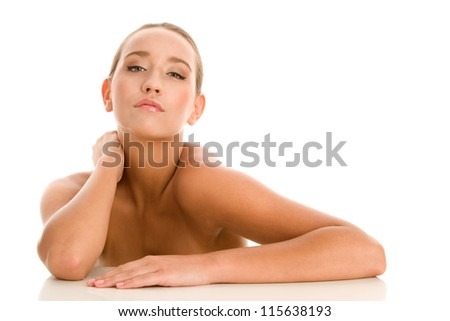 Portrait of young beauty woman - stock photo
