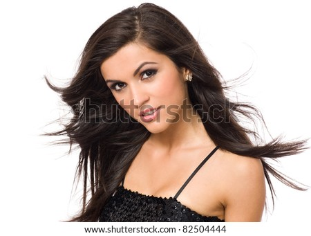 Portrait of young beauty woman with flying hair - stock photo