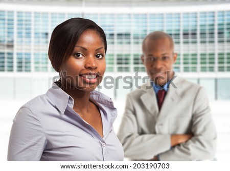 Portrait of young black business people - stock photo