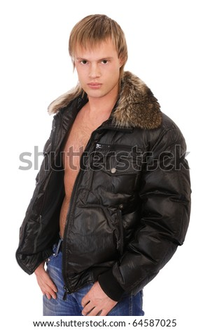 portrait of young blond man in leather jacket on bare torso with furry collar on white - stock photo