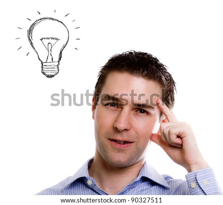 Portrait of young business man and a light bulb - stock photo