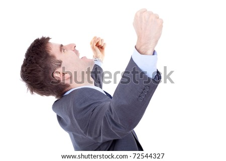 Portrait of young business man shouting loudly with his arms widened - stock photo
