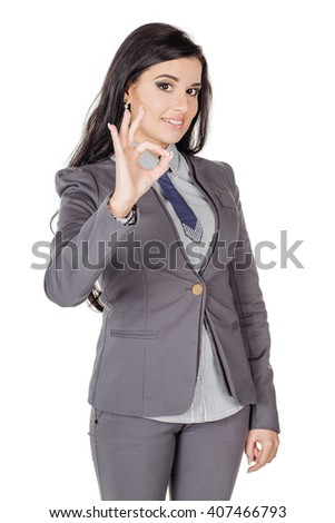 portrait of young business woman in grey suit. isolated on white background. business and lifestyle concept - stock photo