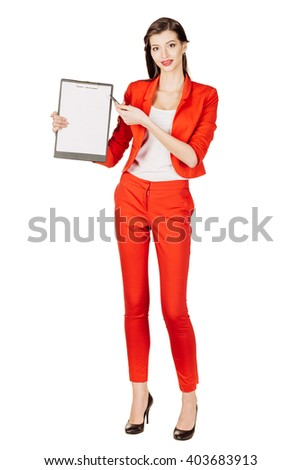 portrait of young business woman in red suit showing with the blank page of clipboard. isolated on white background. business and lifestyle concept - stock photo