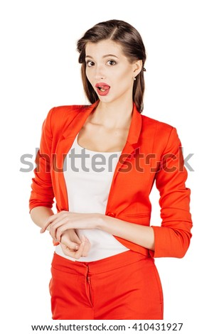 portrait of young business woman in red suit with crossed arms. isolated on white background. business and lifestyle concept - stock photo
