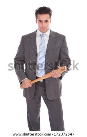 Portrait Of Young Businessman Holding Baseball Bat Over White Background - stock photo