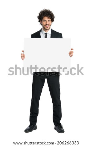 Portrait Of Young Businessman Showing Sign Isolated On White Background - stock photo