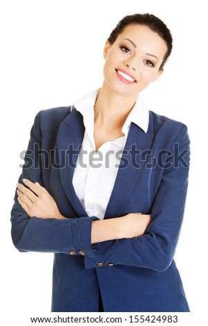 Portrait of young businesswoman or student in elegant clothes  - stock photo