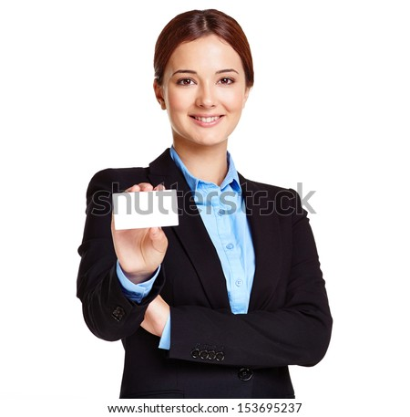 Portrait of young businesswoman showing blank card - stock photo