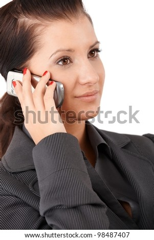 Portrait of young businesswoman with mobile phone. - stock photo