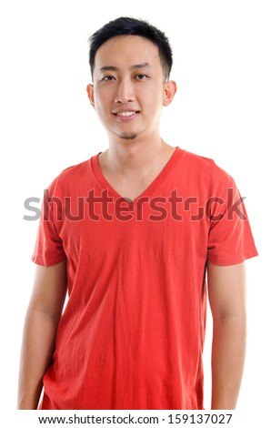 Portrait of young casual Southeast Asian man isolated over white background - stock photo