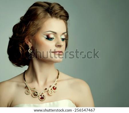 Portrait of young caucasian bride wearing classic wedding dress.  - stock photo